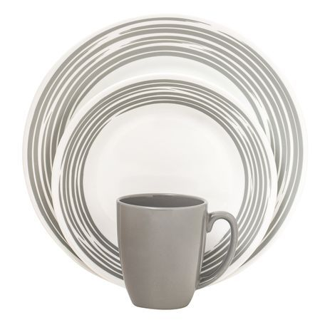 #Corelle Boutique™ Brushed 16-Pc Dinnerware Set, Silver - our Boutique collection embodies the subtle sophistication of fine china, but remains true to the celebrated, durability heritage of Corelle. // click to buy