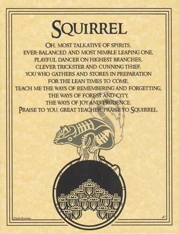 "This parchment poster offers a prayer to the spirit of the Squirrel , celebrating the nimble little creature and all that it has to teach us. 8 12"" x 11"""
