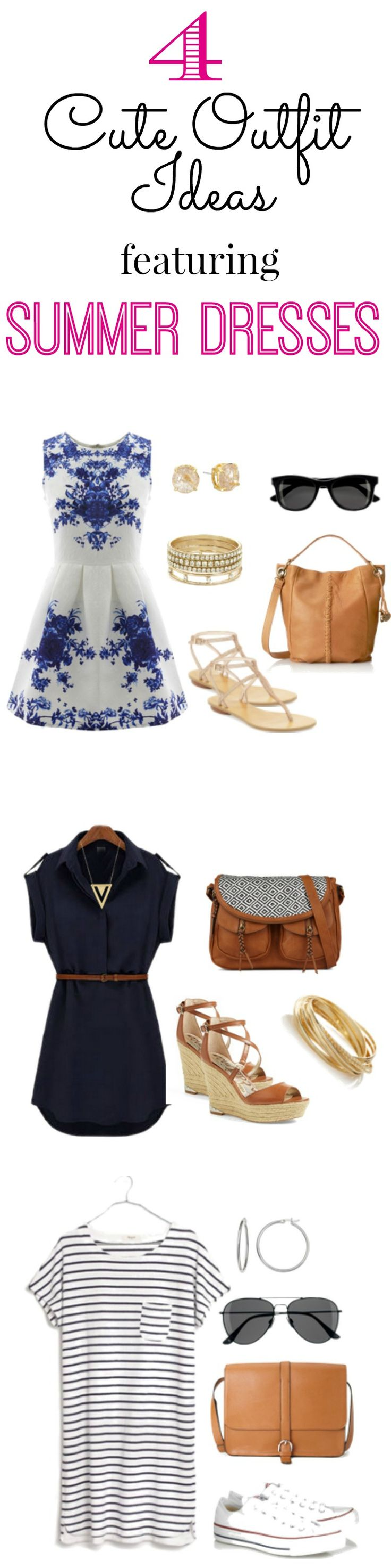 This week's Cute Outfit Ideas is all about summer dresses! From dressy and floral to casual and striped, I share four outfit ideas on how to style some of this summer's hottest dress styles.