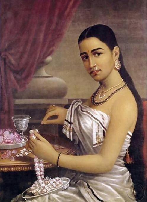 Raja Ravi Verma -- oil painting of a pretty Kerala girl stringing flower garlands