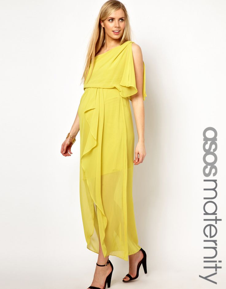 ASOS Maternity | ASOS Maternity One Shoulder Drape Maxi Dress at ASOS
