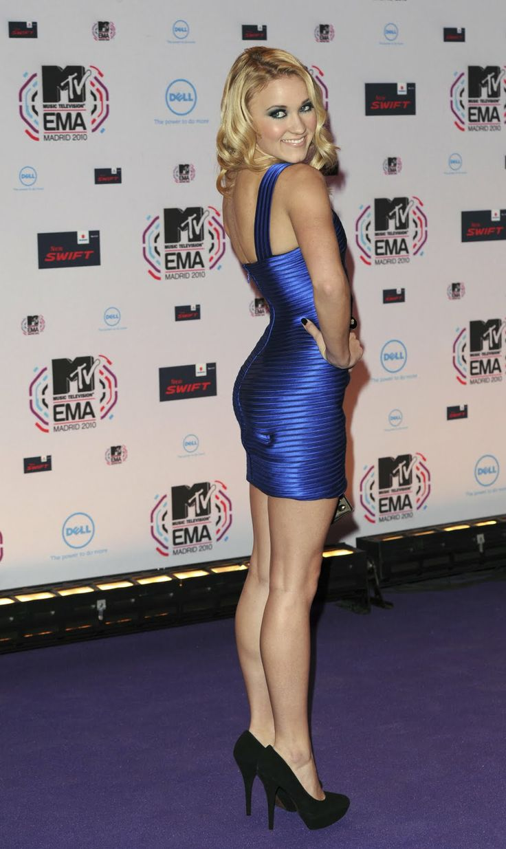 "hotminiskirts: ""Emily Osment showing her fit, slim legs in a sexy blue mini  dress and black heels."