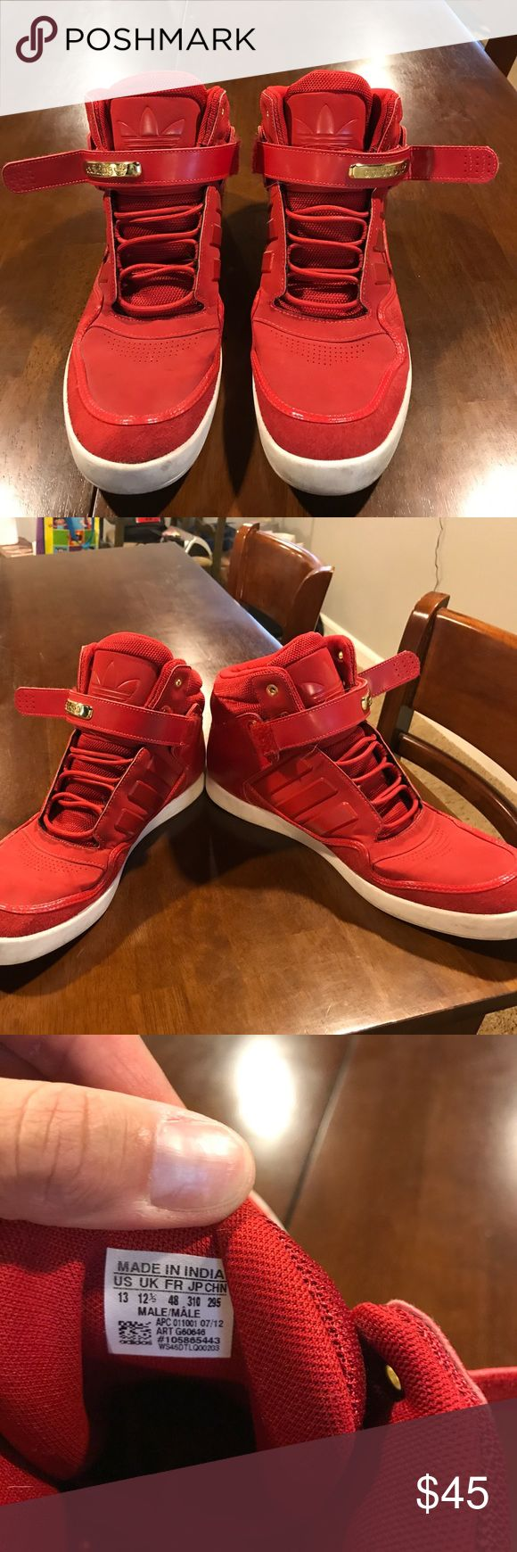Men's high top sneakers Men's size 13 high top sneakers. Red and gold with a little suede around shoe adidas Shoes Sneakers