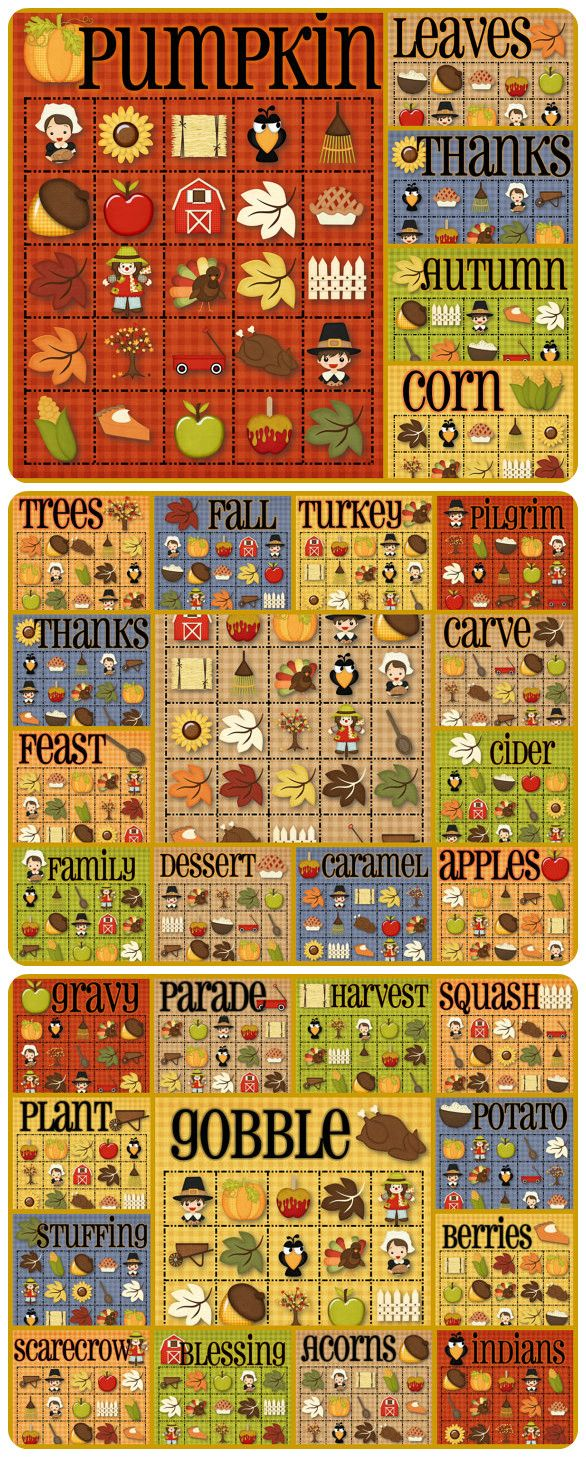 30 Thanksgiving Bingo Cards - INSTANT DOWNLOAD - Celebrate Thanksgiving with this fun and festive Bingo game. Included are 30 playing cards, along with a calling card set. Happy Thanksgiving!