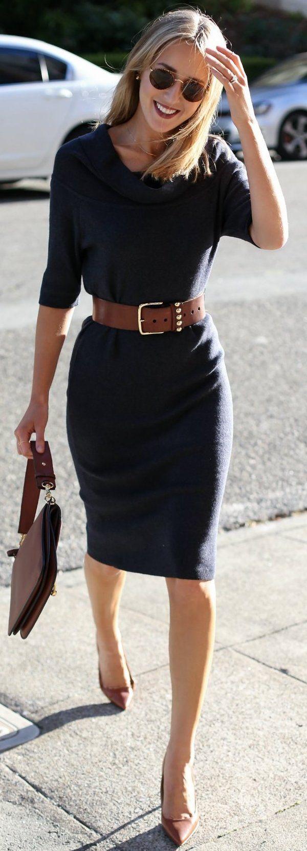 #fall #street #trends | Navy Sweater Midi Dress