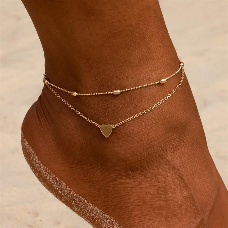 $8.99—Simple Heart Female Anklets Barefoot Crochet Sandals Foot Jewelry Leg New Anklets