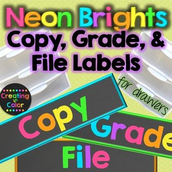 Grade, Copy, File Teacher Drawer Labels - Neon Brights Chalkboard