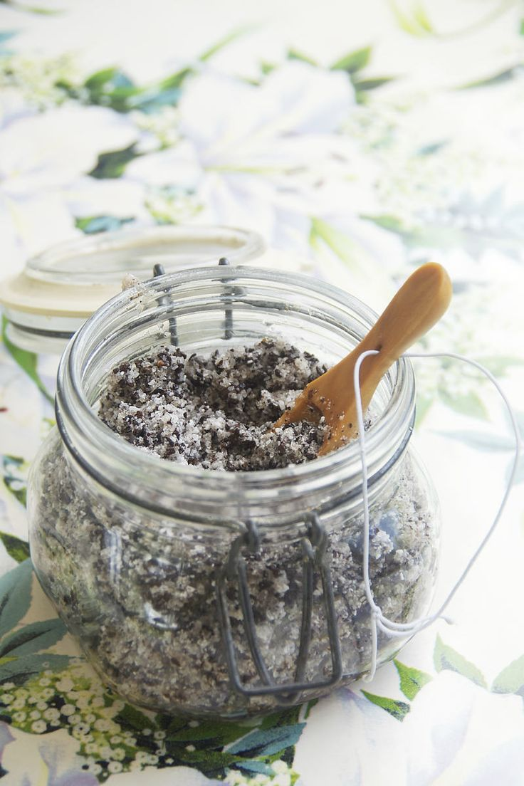 Wake Up With This Coconut + Coffee Body Scrub - What You Need: 3/4 cup coarsely ground coffee 1.5 cups Epsom salt 3/4 cup unrefined coconut oil 1 tsp. vanilla extract (or couple drops essential oil) spoon and jar
