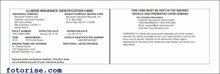 Auto Insurance Card Template Pdf Awesome Free Fake Auto Insurance