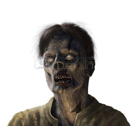 Retrato de un zombi - render 3D con pintura digital. photo