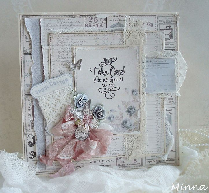So pretty.. shabby chic handmade card by Minna. (Using sewn Pion papers)