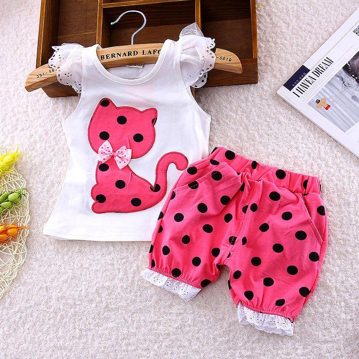 Barato 2016 verão conjunto de roupas meninas do bebê Coreano crianças arco gato…