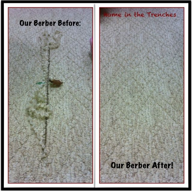 Easy way to repair a pull in your Berber Carpet.  You don't have to replace the whole room!