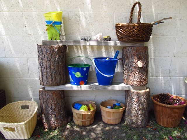 Logs and timber offcuts used to create beautiful outdoor shelving. Also by providing shelving for items that would normally be dumped in a basket, we teach children to have greater respect for their resources. Have instead of bookcase