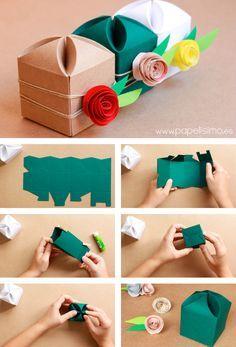 by papelisimo http://papelisimo.es/2015/05/como-decorar-cajas-de-regalo-para-boda/ Caja de regalo boda hecha a mano flor Wedding handmade gift box