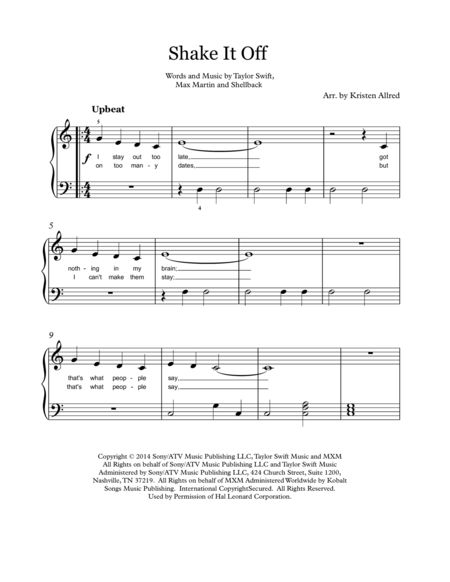 Shake It Off - Taylor Swift. Easy Piano Solo. Super simple to learn, fun to play! Buy here - http://www.sheetmusicplus.com/title/shake-it-off-easy-piano-digital-sheet-music/20186606Sheet music pdf download.