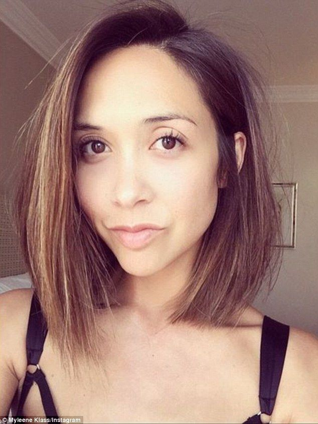 'Check the hurr': Myleene Klass went for the chop on Sunday, cutting off her famous long locks and showing off her fresh new slick bob