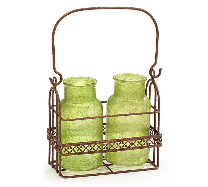 "#burtonandburton Rustic brown metal basket with two green sandblasted glass vases.<br><br>Vase: 5 1/4""H X 1 1/2""Opening<br>Basket: 5 3/4""H X 6 1/4""W X 3""D"