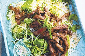 Vietnamese food has an equal balance of sweet, sour and salty seasoning and this beef salad is the perfect example. When cooking, taste as you go as different brands of sauces may vary in strength and flavour.