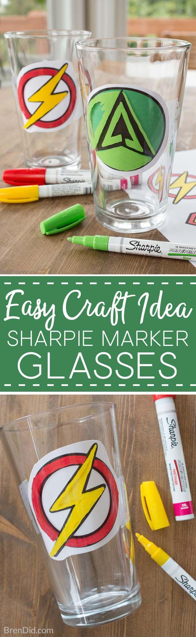 How to Make Custom DIY Sharpie Glasses, Sharpie glass diy, sharpie glassware, how to draw on glass with sharpie, sharpie art, sharpie crafts, superhero craft via @brendidblog