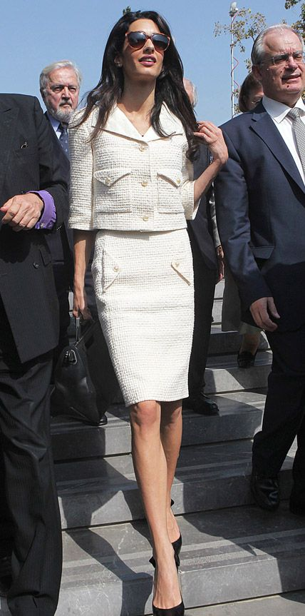 The star worked an ivory Chanel skirt suit and all black accessories during a visit to the Acropolis Museum in Athens, Greece.