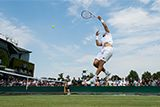 The Championships, Wimbledon 2017 -   Jiri Vesely flies high against No.3 seeds Jamie Murray and Bruno Soares in the Gentlemen's Doubles first round on Day 4. AELTC/Ben Solomon