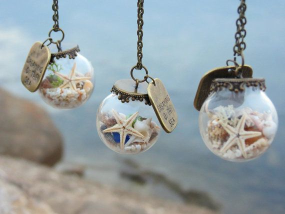 Dreaming of the sea necklace, Beach necklace, Ocean necklace, Glass ball pendant,Glass globe necklace,Crystal ball necklace, Seaside jewelry