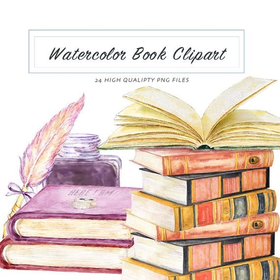 Watercolor Book Clipart Graduation Graphic Vintage Illustration