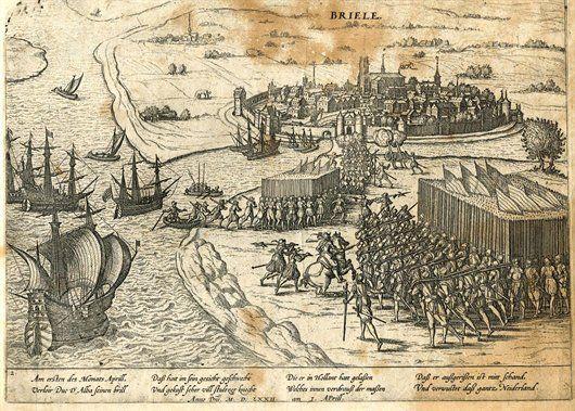 Anonieme prent uit de 17de eeuw. Watergeuzen nemen Brielle in (1 april 1572) - Geschiedenis van Zuid-Holland
