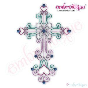 Curly Iron Cross Embroidery Design- Instant Email Delivery Download Machine embroidery design