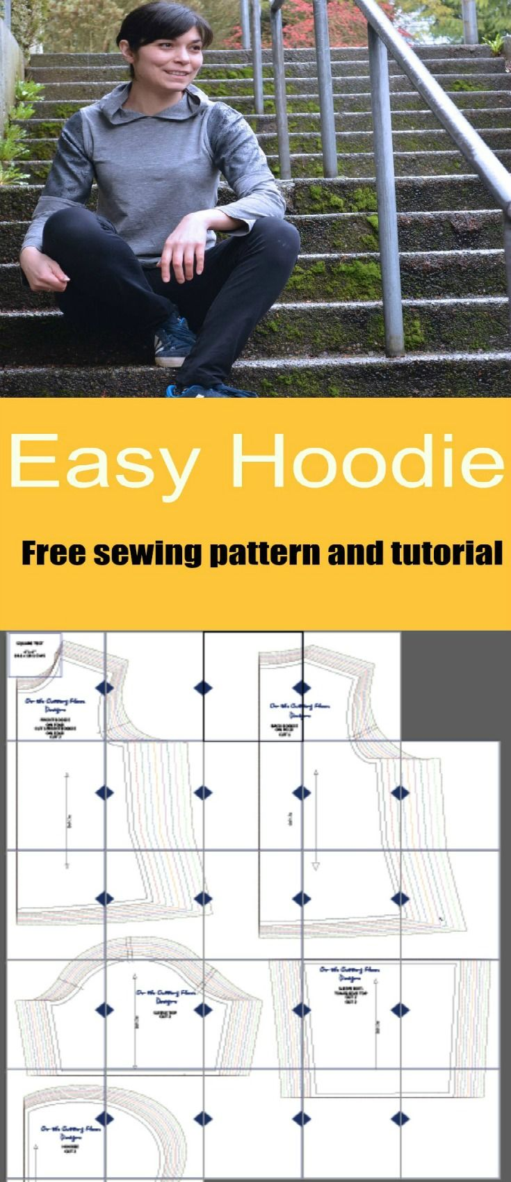 FREE SEWING PATTERN: Make this easy hoodie for the spring season! FREE PDF to download at Onthecuttingfloor.com