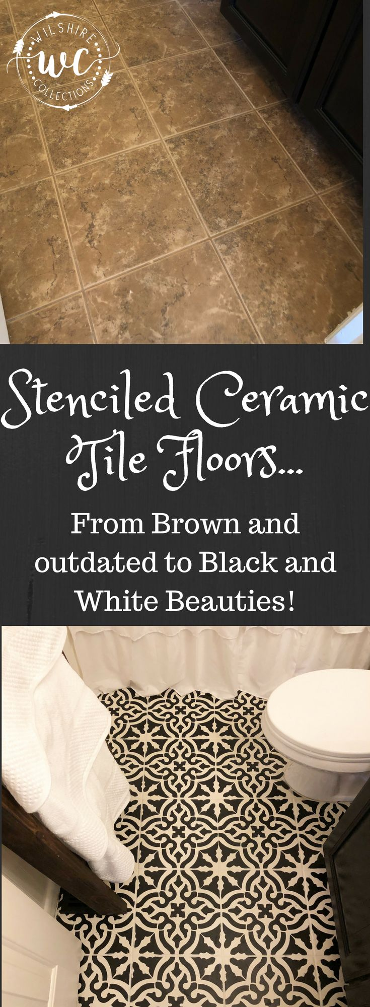 Best 25 ceramic tile crafts ideas on pinterest diy tile stenciled ceramic tile floors for the win week 4 of the 100 room challenge was a big one dailygadgetfo Images