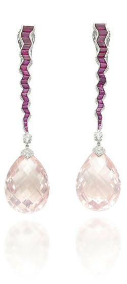 A PAIR OF MORGANITE, RUBY AND DIAMOND EAR PENDANTS, BY MICHELE DELLA VALLE Each suspending a facetted drop-shaped morganite, with pavé-set diamond cap and brilliant-cut diamond spacer, to the calibré-cut ruby undulating line, mounted in gold, 8.5 cm, in Michele della Valle pouch and green case With maker's mark for Michele Della Valle, no. 1147
