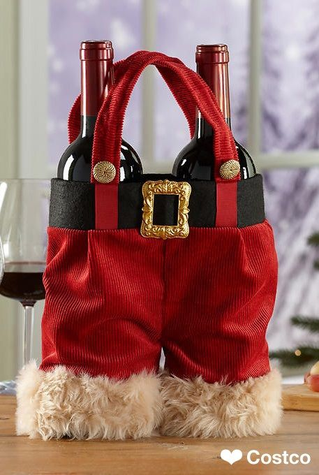 Dress up your holiday swag with the Santa Pants Two Bottle Wine Tote 3 Pack. Great for decorating or gift giving. Use as a table centerpiece or put out under the tree. Split the pack up and use as a carrier for your holiday beverage presents.