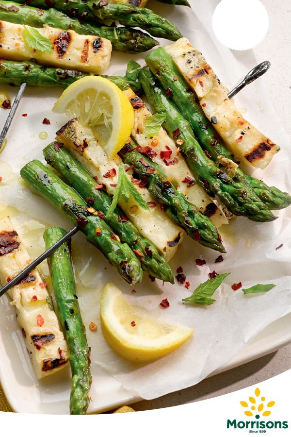Asparagus develops a beautiful, rich flavour when grilled. The halloumi and mint add an extra bang of flavour making these skewers hard to put down.     Makes 2  Total time required  Total time: 15 mins Preparation time: 10 mins Cooking time: 5 mins