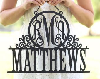 Personalized Newlywed Sign with Monogram and Last Name Wedding