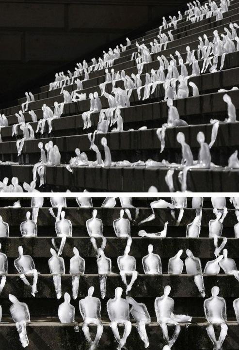 Brazilian Artist Nele Azevado carved 1,000 figures out of ice on the steps of Berlin's Gendarmenmarkt Square.