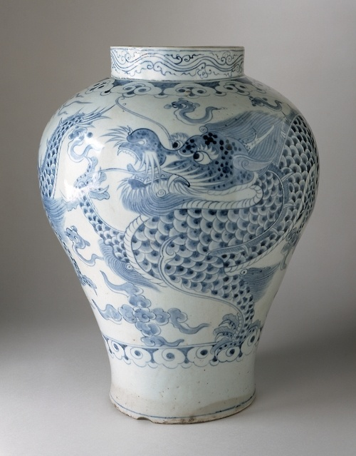 Jar with Dragon and Clouds  18th century  Korean  Joseon Dynasty  Wheel-thrown porcelain with blue painted decoration under clear glaze