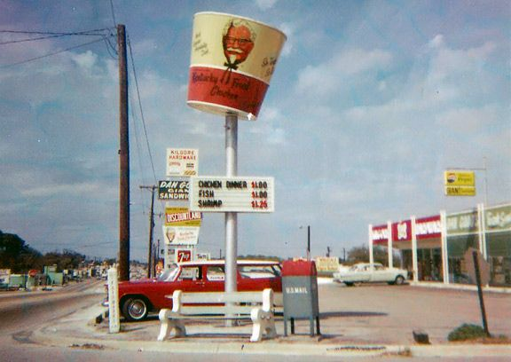 The revolving bucket sign! Back when it was Kentucky Fried Chicken, NOT KFC!! {GM}