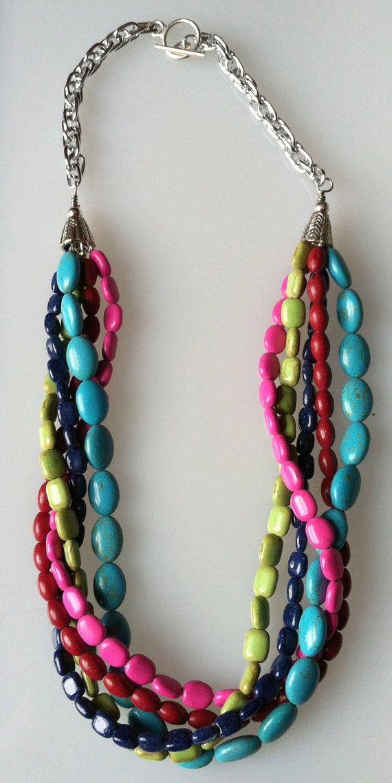 Summer MultiColored Twist Necklace features Red, Lime ...