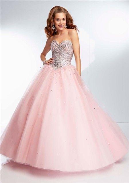 light pink ball dresses | Ball Gown Strapless Sweetheart Long Light Pink Tulle Beaded Prom Dress ...