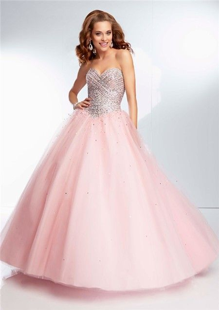 light pink ball dresses | Ball Gown Strapless Sweetheart Long Light Pink Tulle Beaded Prom Dress ...