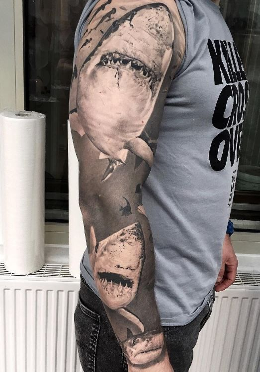 Awesome Sharks Sleeve Tattoo