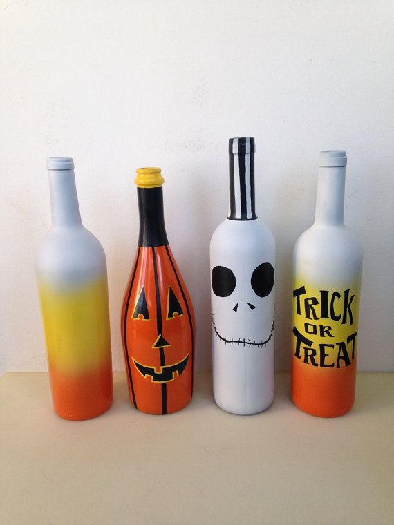 halloween pumpkin bottle hand painted wine by thecloudninestudios - Craft Halloween Decorations