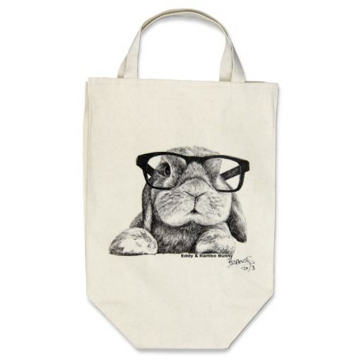 Hipster Rambo Bunny Tote Canvas Bags...grocery size