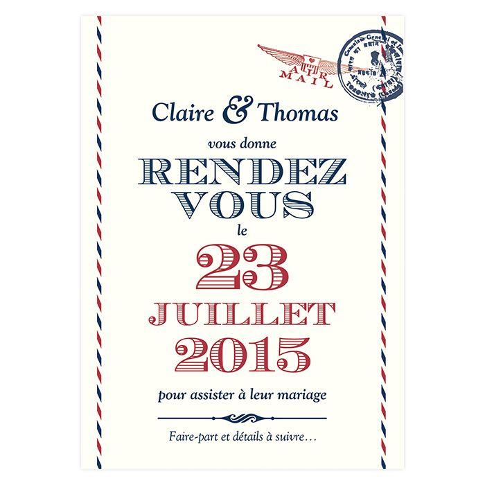 """Save the Date """"Voyage"""". Embarquez vers un mariage a l'esprit vintage et chic. Carte postale personnalisée gratuitement avec vos textes et couleurs."""