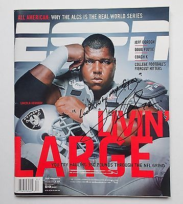 Lincoln Kennedy Oakland Raiders Autographed Living Large 10/29/01 ESPN Magazine