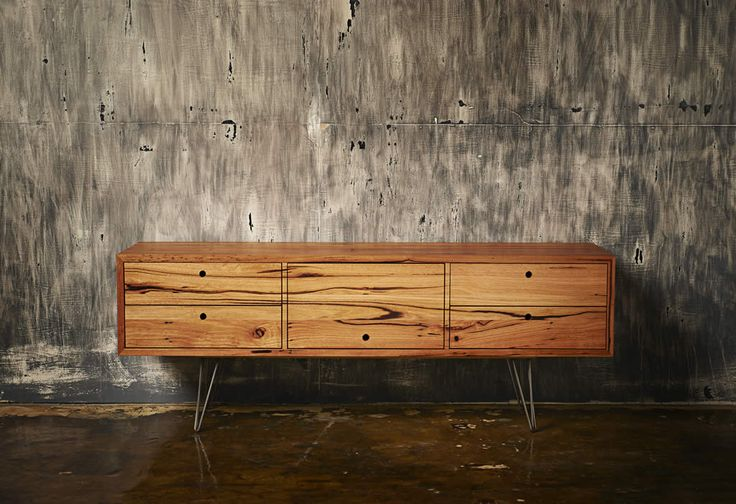 Auld Design Australian furniture design and joinery - Handmade Aurora Sideboard / Entertainment Unit.  Solid reclaimed Messmate with steel hairpin legs and finger pull handle detail.