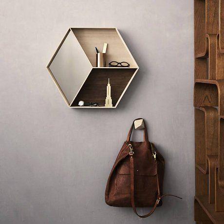 Ferm Living Spiegel met opbergvak Wall Wonder Mirror hout bruin/creme 60x50cm