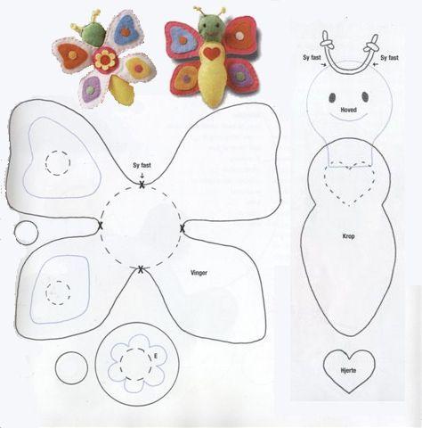 baby cadeautje felt butterfly felt pattern ideas design craft diy